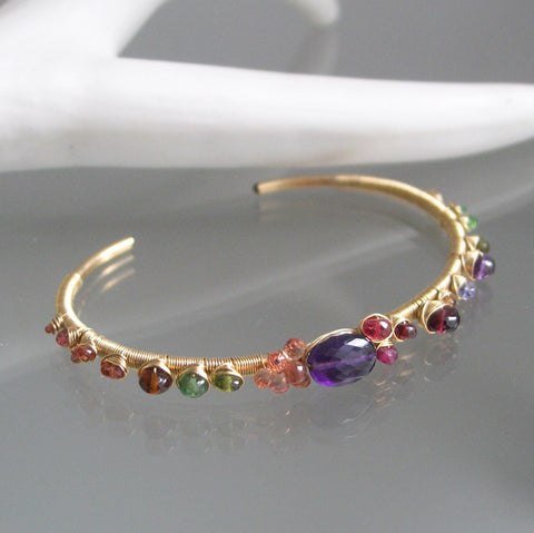 Amethyst and Sapphire Gold Filled Cuff with Garnet, Tourmaline, Tanzanite