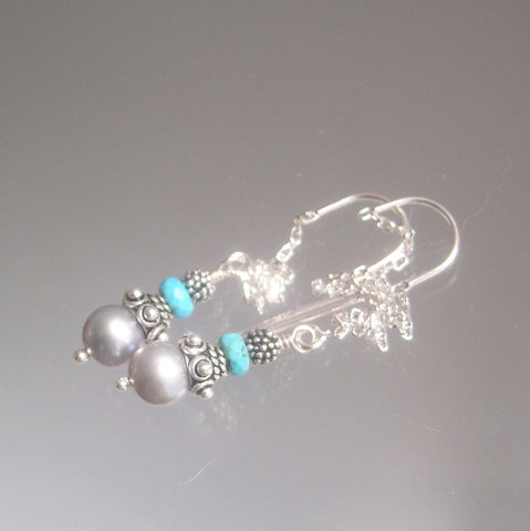 Pearl and Turquoise Sterling Threader Earrings