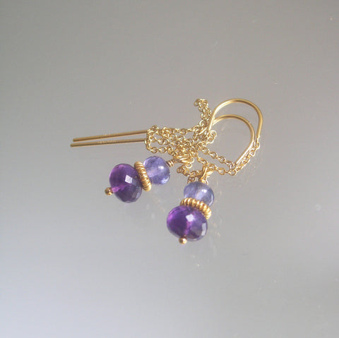 SOLD. 14k Gold Filled Amethyst Threader Earrings with Tanzanite