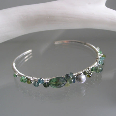 Sea Green Gemstone Silver Cuff Bracelet with Apatite, Emerald, Pearl