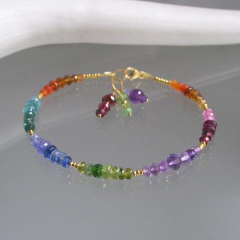SOLD.  Rainbow Chakra Gemstone Beaded Bracelet with Vermeil, Made to Order