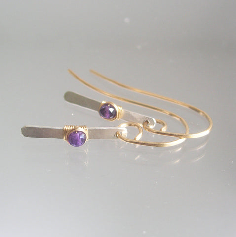 Amethyst Dangle Mixed Metal Minimalist Earrings, Small