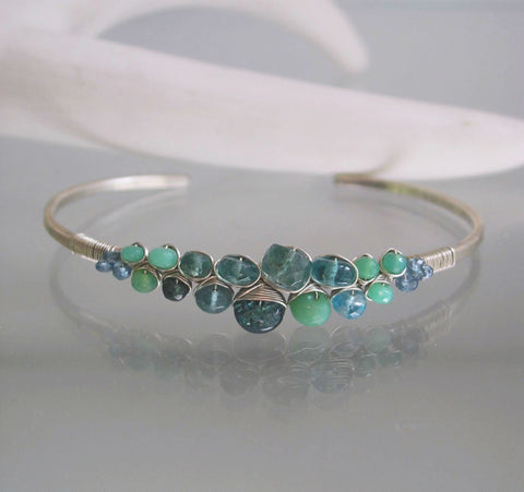 Apatite Sterling Silver Cuff Bracelet with Turquoise and Chrysoprase
