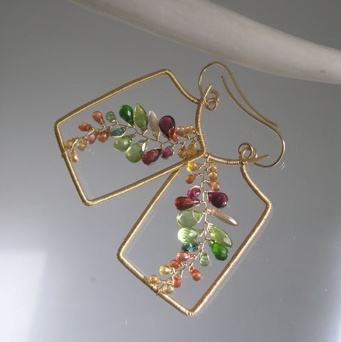 14k GF Rectangular Earrings with vines of Sapphire, Garnet, Apatite