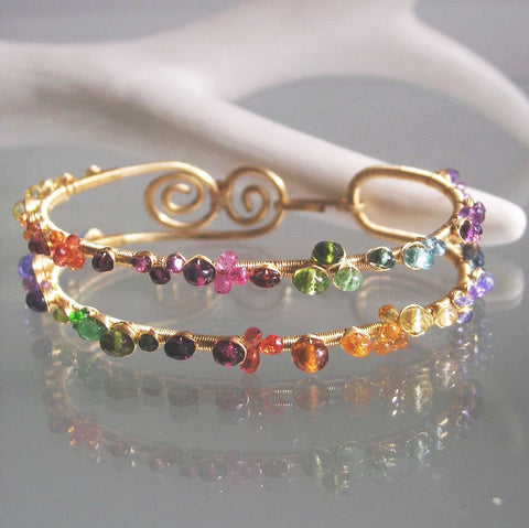 Wide Multi Gemstone GF Bangle Bracelet with Amethyst, Sapphire, Topaz, Tanzanite