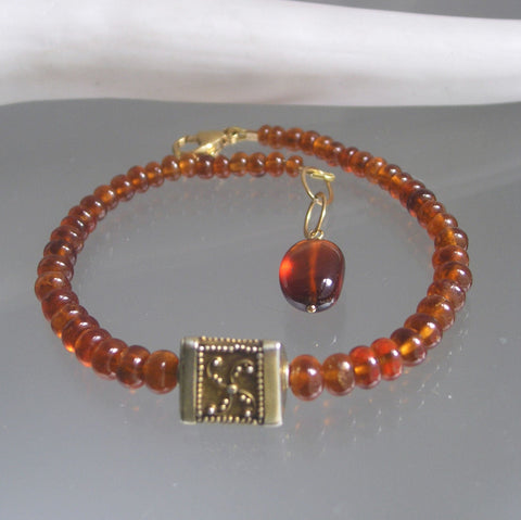 Spessartite Garnet Beaded Bracelet with Triangular Vermeil Bead