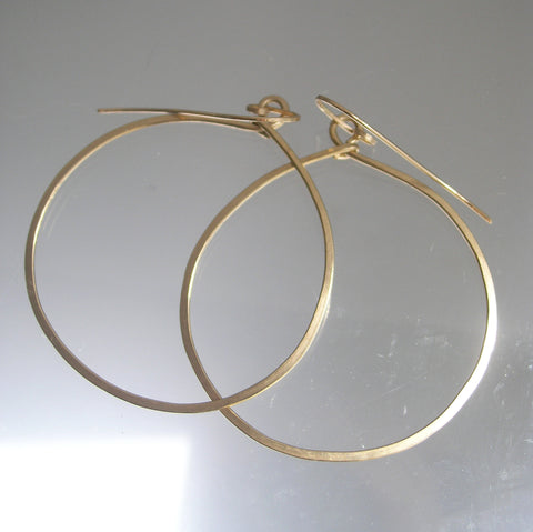 14k Gold Filled Front Facing Minimalist Hoops, Mid Sized