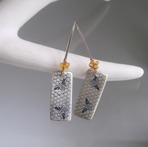 Honey Bee Sterling Silver Earrings with Golden Sapphires