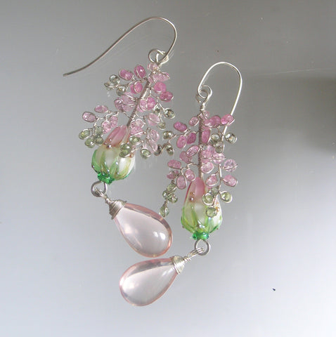 Pink Sapphire Floral Lampwork Ornate Sterling Earrings with Rose Quartz