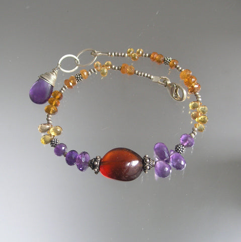 Amethyst and Spessartite Silver Beaded Gemstone Bracelet