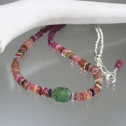 Tourmaline Beaded Necklace with Garnet, 16""