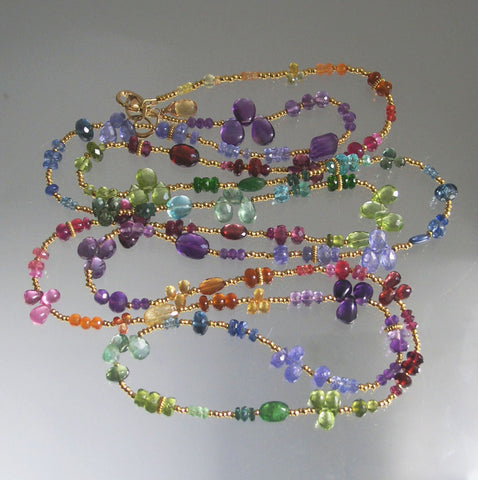 SOLD Long Rainbow Gemstone Necklace Vermeil Chakra Wraparound Bracelet, 49""