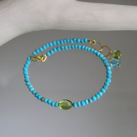 Dainty Turquoise Bracelet in 14k Gold Fill with Peridot