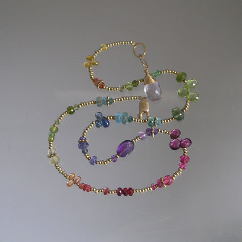 SOLD.  Delicate Rainbow Gemstone Beaded Necklace Beaded with Vermeil