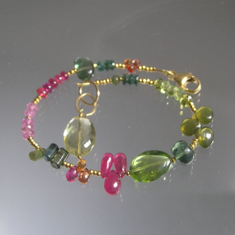 Artsy Peridot Ruby Beaded Bracelet with Tourmaline and Sapphire