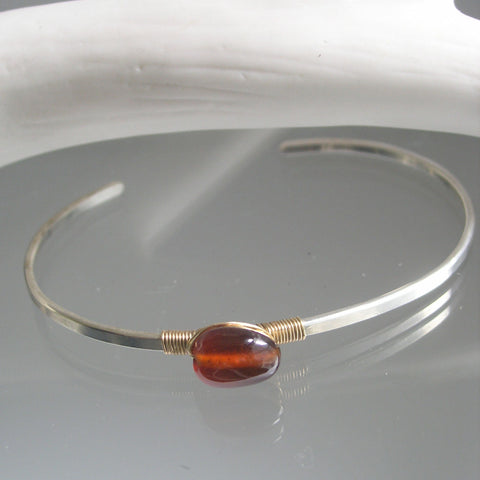 Amber Spessartite Sterling Silver Cuff with Gold Filled Wrapping