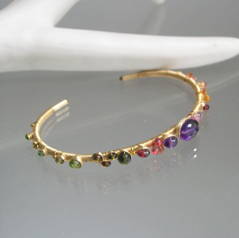 Colorful Gemstone 14k Gold Filled Cuff Bracelet with Amethyst, Sapphire, Tsavorite