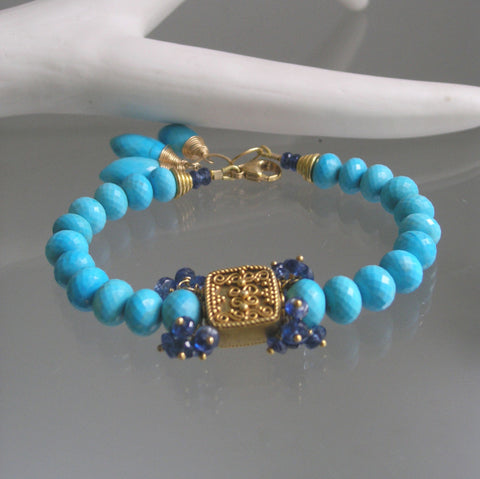 Chunky Turquoise Beaded Bracelet with Vermeil Beads and Kyanite Clusters, 14k Gold Filled