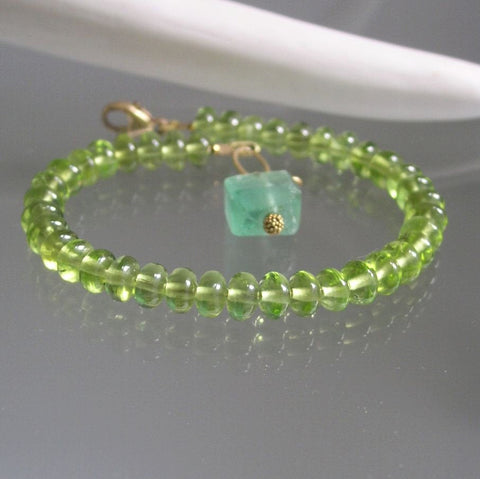 Green Peridot Bracelet with Fluorite and 14k GF