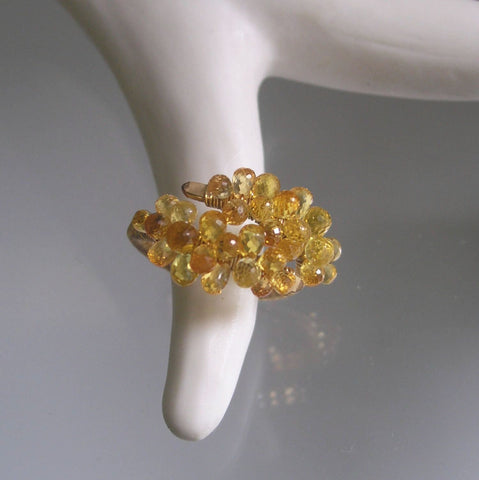 Golden Sapphire Encrusted GF Cocktail Ring, Size 6.5