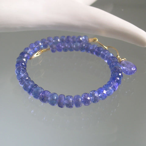 14k Solid Gold Tanzanite Beaded Bracelet