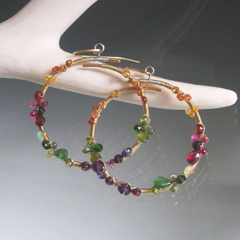 Rainbow Gemstone GF Hoop Earrings with Opal, Tsavorite, Amethyst