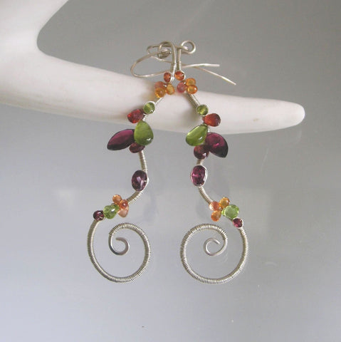 Sterling Silver Garnet Gemstone Earrings with Peridot, Vesuvianite
