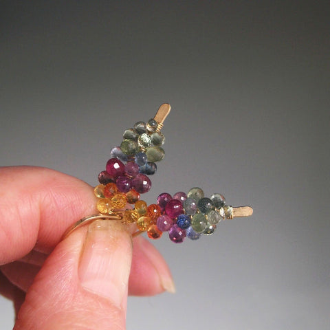 Rainbow Sapphire Gold Filled Earrings, Small