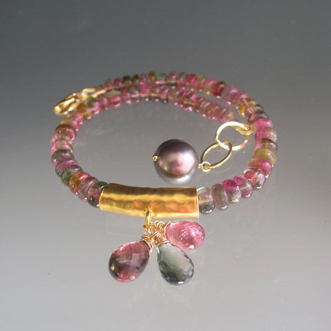Watermelon Tourmaline Beaded Bracelet with Gold Plated Gold Bar