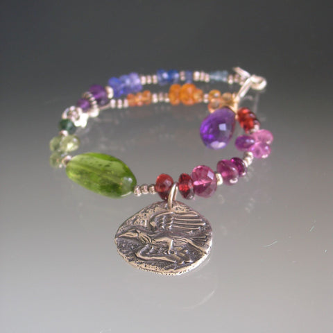 Rainbow Gemstone Silver Bracelet with Ancient Coin Bird Charm, Peridot, Sapphire Tanzanite