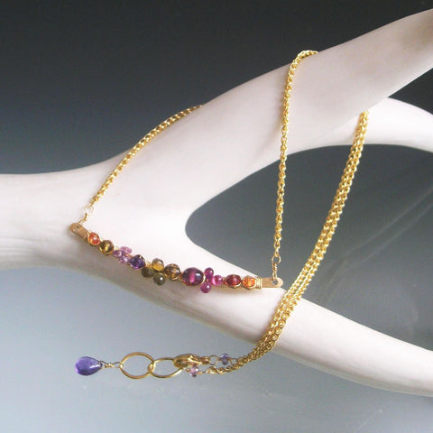 SOLD.  Plum Sapphire 14k Gold Filled Bar Necklace with Tourmaline