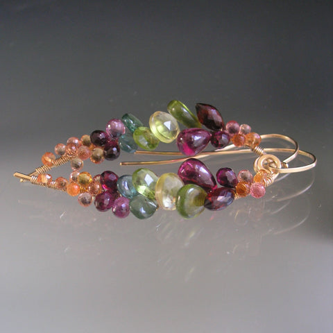 Multi Gemstone Long Curved Earrings in 14k Gold Fill with Sapphires Garnet Vesuvianite