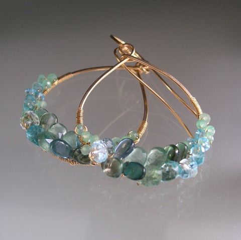 Sea Apatite Gold Filled Hoop Earrings with Green Tourmaline, Chrysoprase
