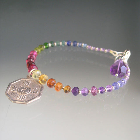 Rainbow Gemstone Beaded Bracelet with Yin Yang Vintage Sterling Charm