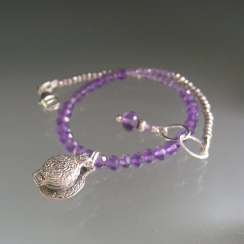 Amethyst Silver Bracelet with Vintage Sterling Opening Waffle Iron Charm