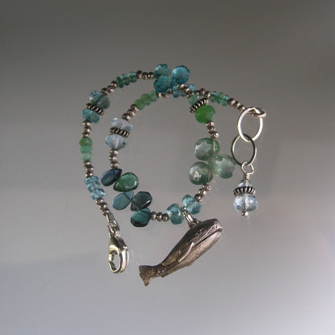 SOLD, Turquoise Apatite Beaded Bracelet with Vintage Sterling Silver Jonah and the Whale Opening Charm