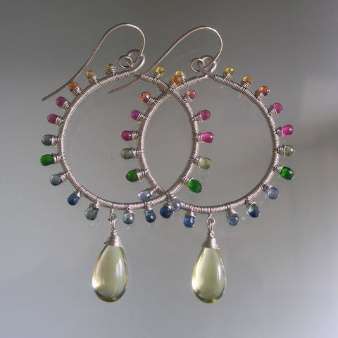 Pastel Rainbow Gemstone Sunburst Sterling Hoop Earrings with Sapphire, Lemon Quartz