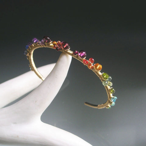 Deep Rainbow Gemstone 14k Gold Filled Cuff Bracelet with Sapphire, Purple Garnet, Amethyst