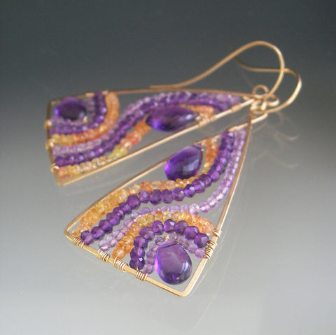 Amethyst Triangle Mosaic Earrings in 14k Gold Fill with Sapphires
