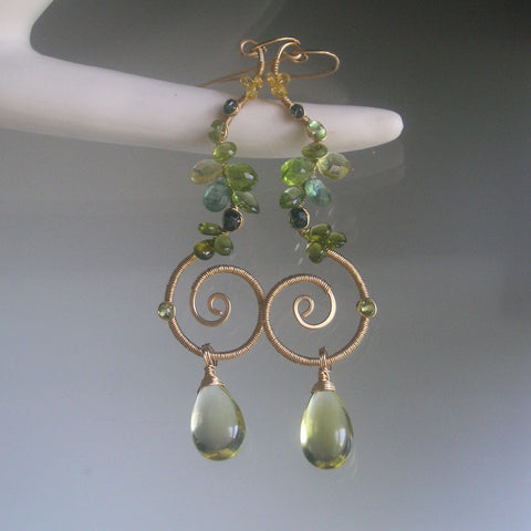 Peridot Spiral GF Earrings with Apatite, Lemon Quartz