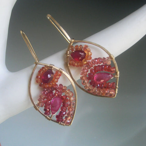 Pink Sapphire Mosaic GF Leaf Earrings with Sapphire, Ruby