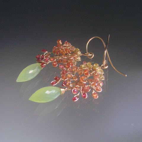 Orange Sapphire Vine Earrings in 14k Gold Fill with Lime Green Chalcedony