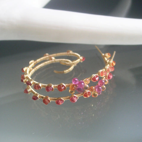 Orange Pink Sapphire GF Spiral Earrings