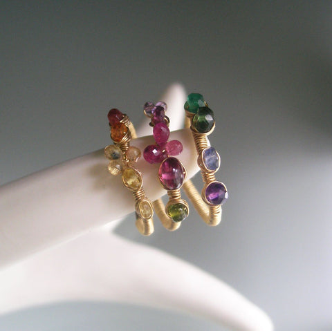 Rainbow Gemstone GF Ring in 14k Gold Fill with Emerald, Sapphire, Garnet, Amethyst, Size 7