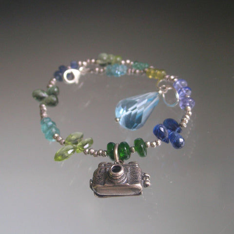 Gemstone Bracelet in Blues and Greens with Vintage Mechanical Sterling Camera Charm