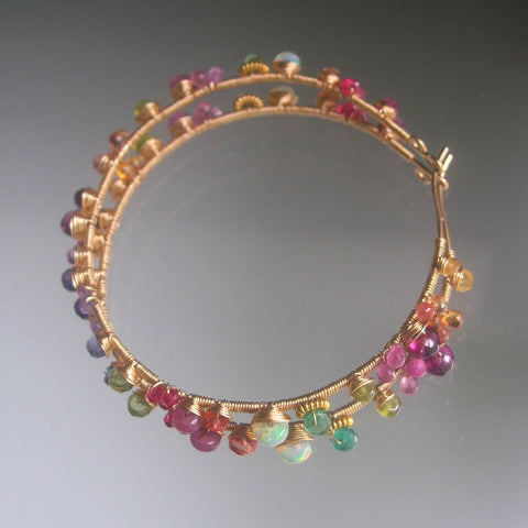 Multi Gemstone 14k Gold Filled Hoop Earrings with Sapphire, Opal, Amethyst, Emerald