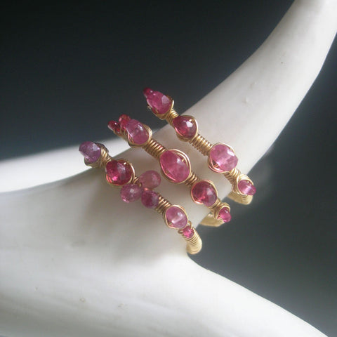 Pink Sapphire Gold Filled Wraparound Ring with Spinel, Size 7 1/2