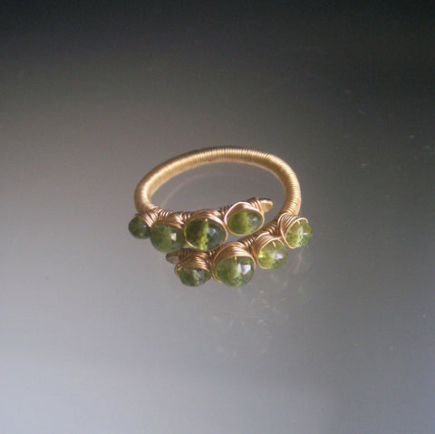 Peridot 14k Gold Filled Ring with Vesuvianite, Size 6