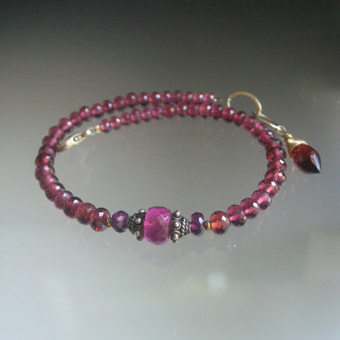 Garnet Beaded Bracelet with Pink Tourmaline, Mixed Metal, Sterling, Gold Fill