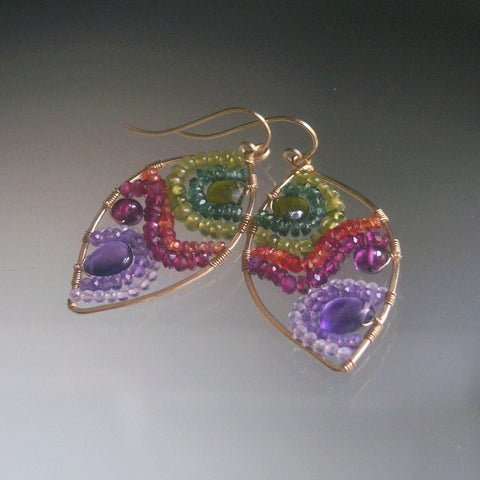 Multi Gemstone Mosaic Almond Earrings in 14k Gold Fill with Amethyst Sapphire Vesuvianite